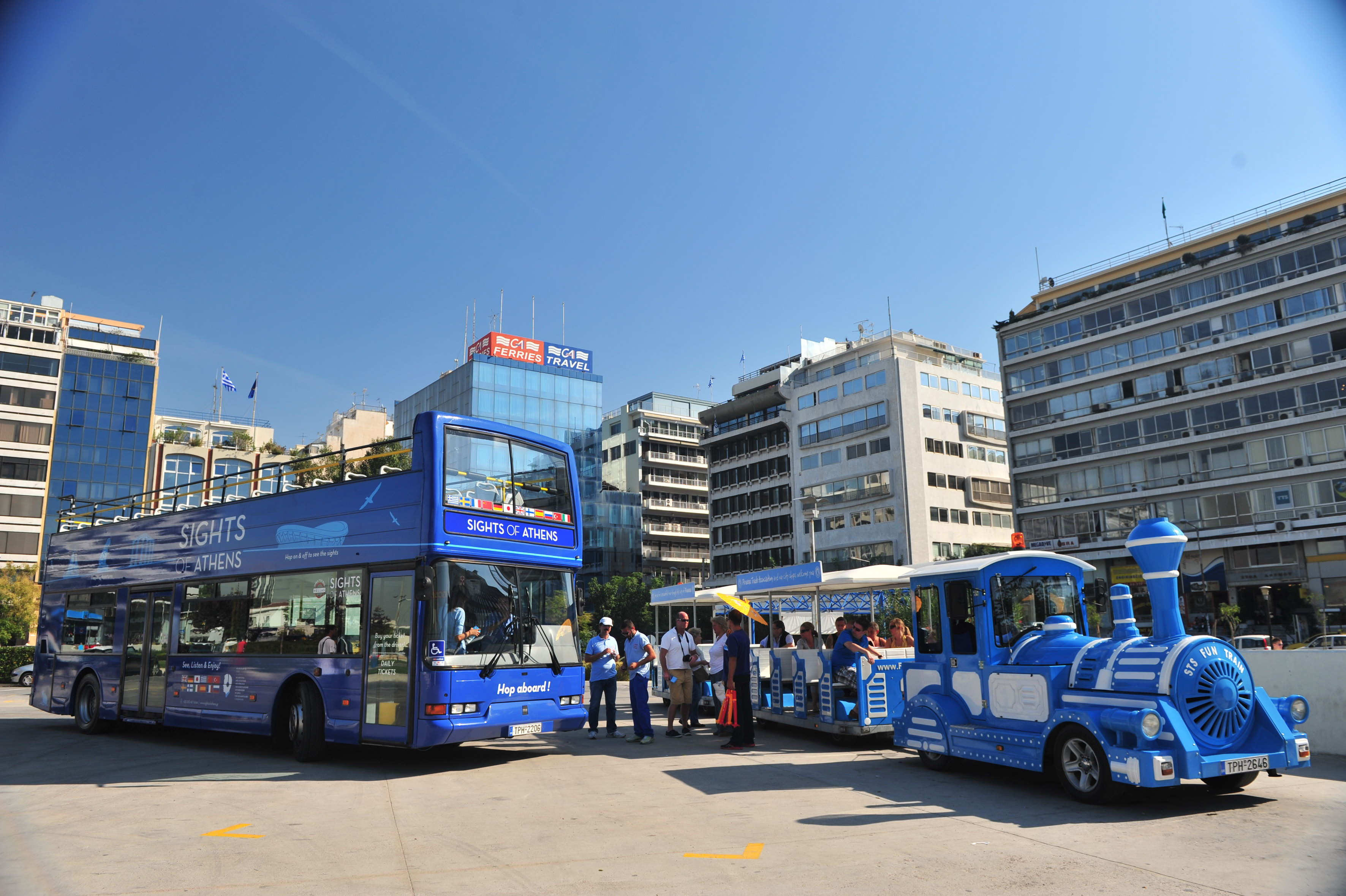 hop on hop off trolley service via grey line tours:Combo Athens & Piraeus Line by Sightseeing Buses and Trains