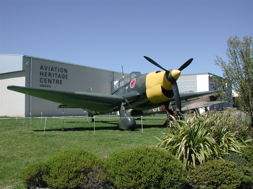 World War 2 aircraft on display outside Omaka Aviation Heritage Centre building
